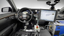 """Automated Driving"" at Mercedes-Benz - Robots control accelerator, brake and steering in test vehicle."