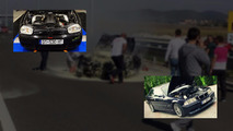 V10 BMW M3, VW Golf street race crash