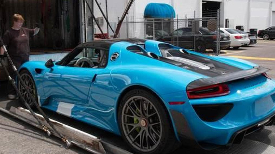porsche 918 spyder with riviera blue paint and weissach package arrives in united states. Black Bedroom Furniture Sets. Home Design Ideas