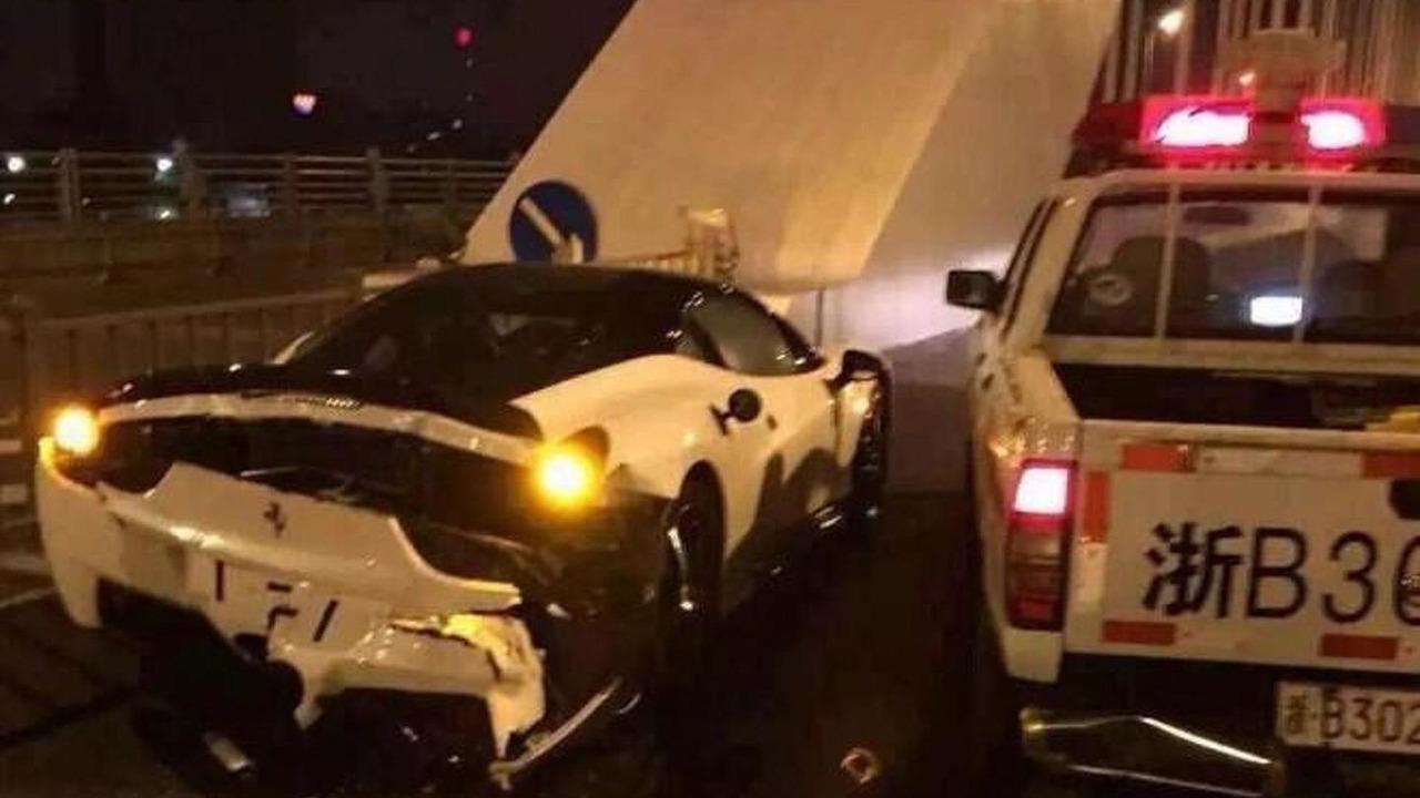 Nissan police pickup truck crashes into Ferrari 458