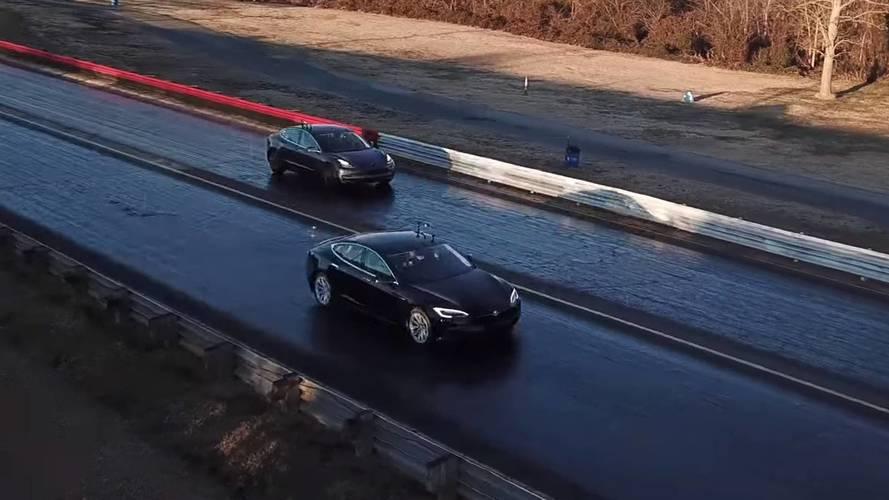Tesla Model 3 Races Model S 75D And P100D