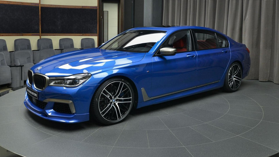 BMW M760Li xDrive Estoril Blue With Red Interior Stands Out