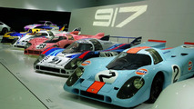 "The exhibition: The ""917"" theme shows amongst others the Porsche 917 KH Coupé (in front)"