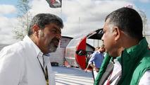 Vicky Chandhok (IND), father of Karun Chandhok (IND), Tony Fernandes, Lotus F1 Team, Team Principal - Formula 1 World Championship, Rd 10, British Grand Prix, 11.07.2010 Silverstone, England