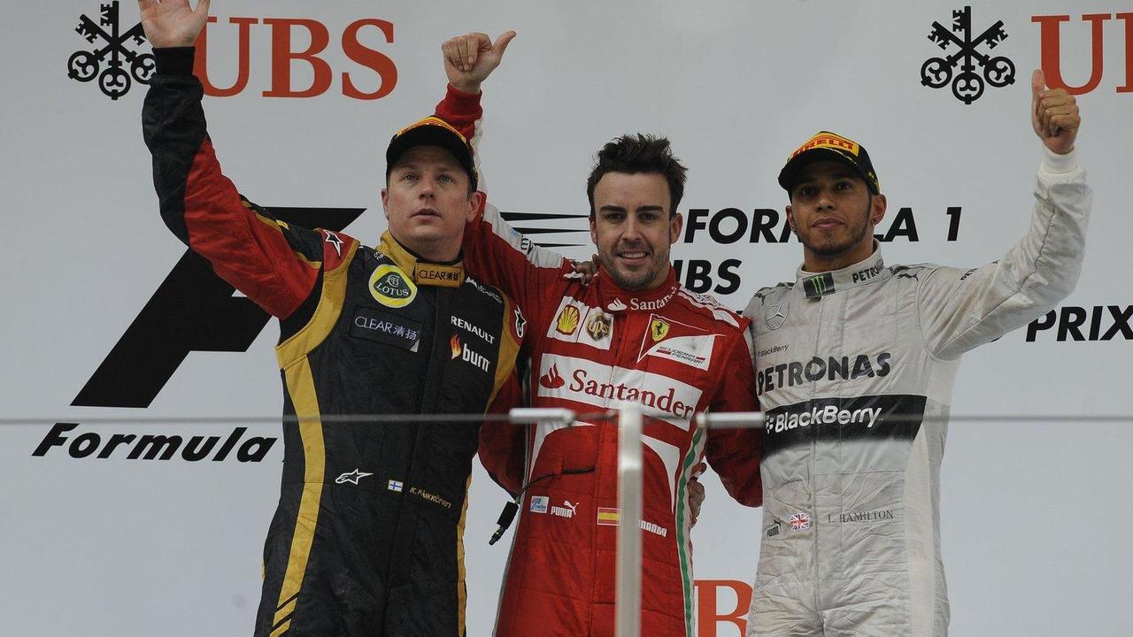 2013 Formula 1 Chinese Grand Prix podium, Kimi Raikkonen, Fernando Alonso, Lewis Hamilton 14.04.2013