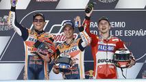 Pódio: Vencedor Dani Pedrosa, da Repsol Honda Team, o segundo colocado Marc Marquez, Repsol Honda Team, e o terceiro Jorge Lorenzo, Ducati Team