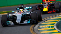 Lewis Hamilton, Mercedes AMG F1 W08, leads Max Verstappen, Red Bull Racing RB13