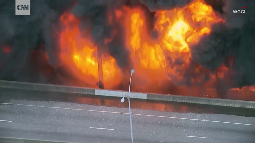 Fire Causes Bridge On Highway I-85 In Atlanta To Collapse