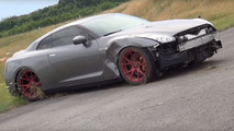 Nissan GT-R with 2000 hp loses control at 218 mph