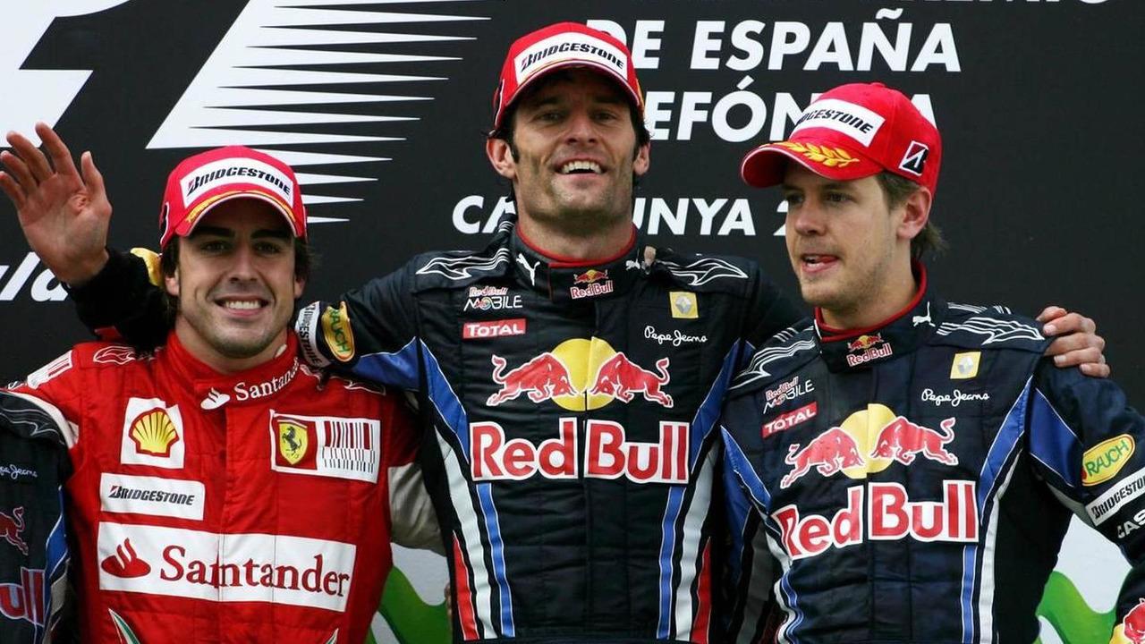 Fernando Alonso (ESP), Scuderia Ferrari, Mark Webber (AUS), Red Bull Racing and Sebastian Vettel (GER), Red Bull Racing, Spanish Grand Prix, 09.05.2010 Barcelona, Spain
