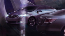 Buick Compact Sedan teaser sketch with 2011 Buick Regal