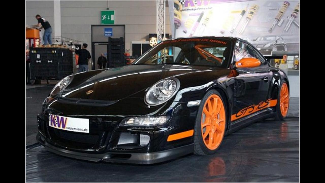 Per Knopfdruck hebt der Porsche GT3 RS von KW Suspension die Nase um bis 40 Millimeter an