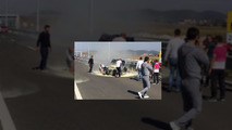 V10 motorlu BMW M3 ve Volkswagen Golf'ün otoban yarışı kötü bitiyor