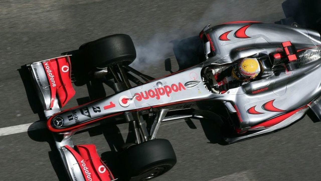Lewis Hamilton in his MP4-24 race car at Monaco grand prix 2009