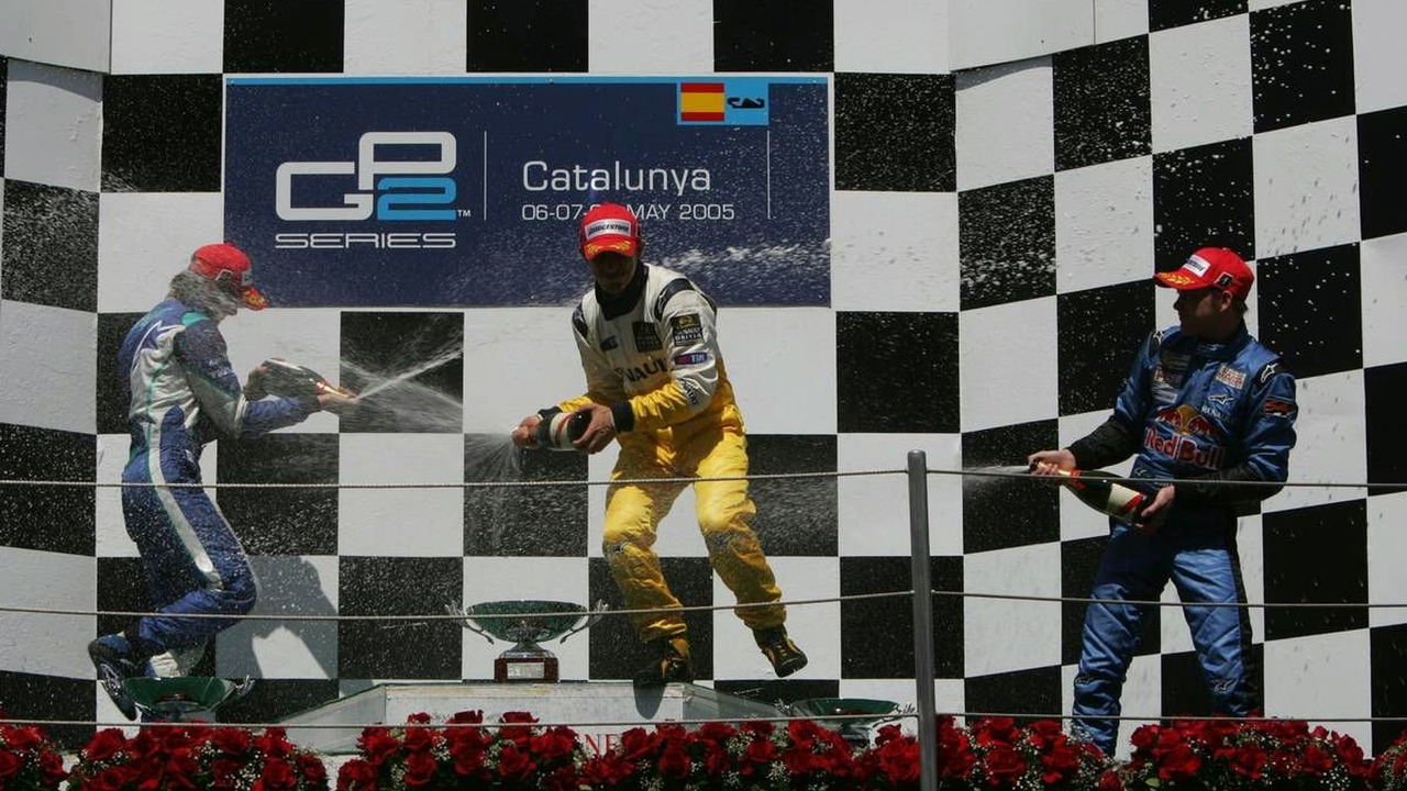 Jose Maria Lopez (ARG), DAMS (1st), Nelson Piquet Jr (BRA, 2nd, left) and Scott Speed (USA, 3rd, right) GP2 Championship, 06-08.05.2005 Barcelona, Spain