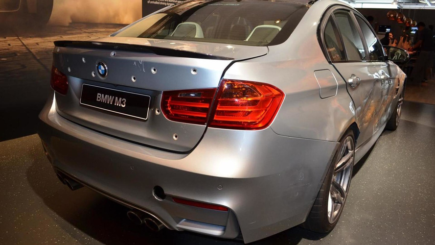 Damaged M3 with bullet holes from Mission Impossible Rogue Nation displayed by BMW M