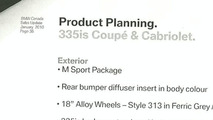 2011 BMW 335is Coupe & Cabriolet Leaked Specs Document
