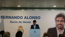 Fernando Alonso durante el acto del Real Madrid