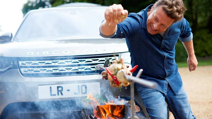 Jamie Oliver Gets Cooking In His Land Rover Discovery Kitchen