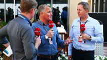 (L to R)- Simon Lazenby, Sky Sports F1 TV Presenter with Johnny Herbert, Sky Sports F1 Presenter and Martin Brundle, Sky Sports Commentator
