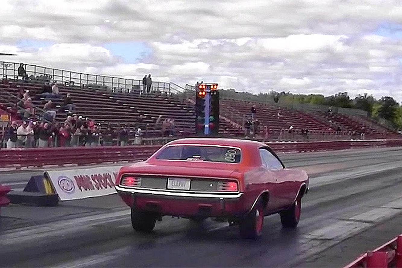 Watch the Iconic Hemi 'Cuda Drag Race a Plymouth Road Runner