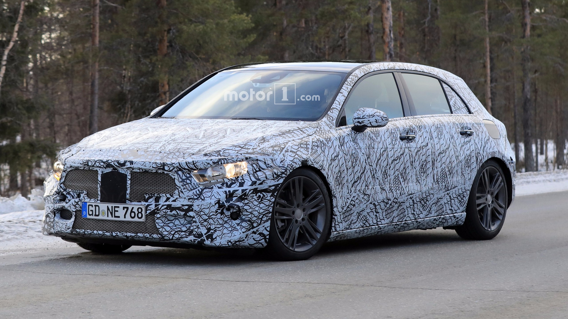 2018 mercedes a class rides low in new spy shots. Black Bedroom Furniture Sets. Home Design Ideas