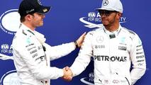 Polesitter Nico Rosberg, Mercedes AMG F1, second place Lewis Hamilton, Mercedes AMG F1