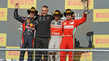 2012 United States Grand Prix podium, Vettel, Whitmarsh, Hamilton, Alonso 18.11.2012