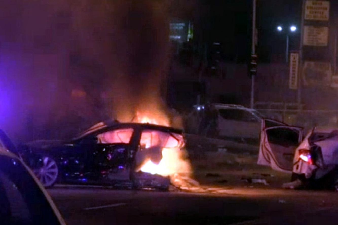 Tesla Model S Splits in Two Following High-Speed Crash