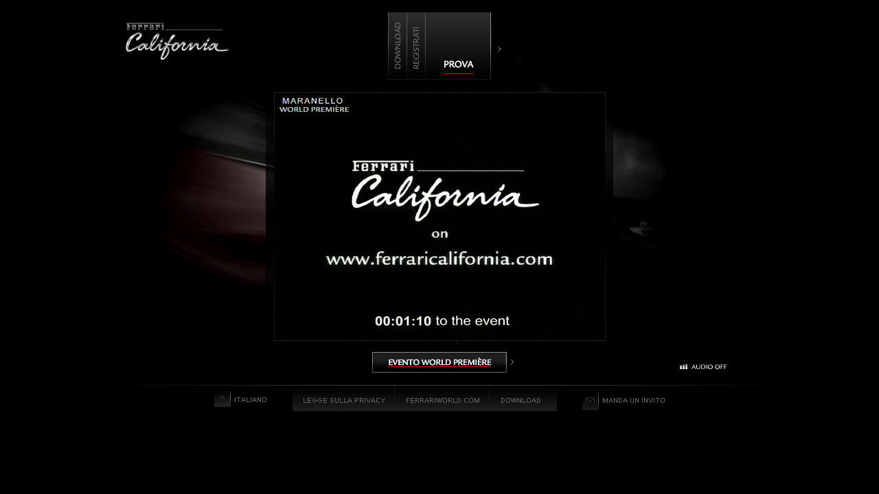 La presentazione web della Ferrari California