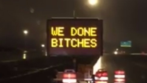 Edmonton highway road sign swearing gets noticed by motorists