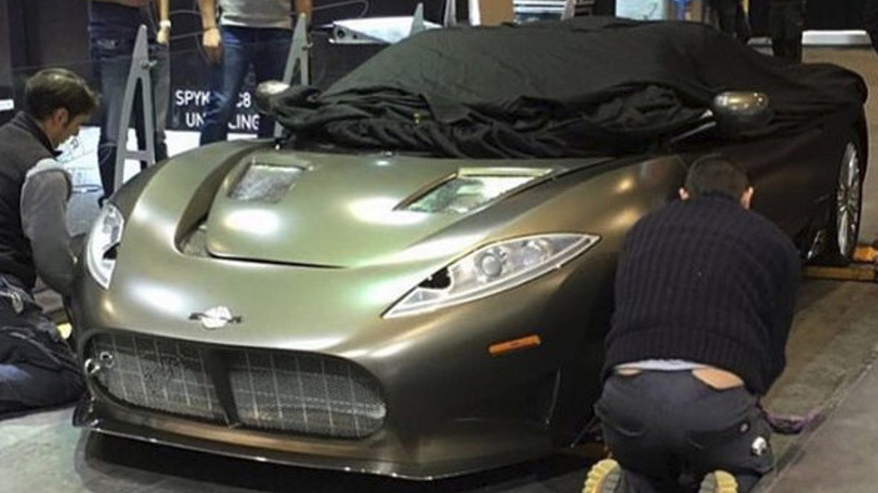 Spyker C8 Preliator spied on the Geneva Motor Show floor