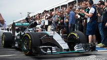 Race winner Lewis Hamilton, Mercedes AMG F1 W06 enters parc ferme