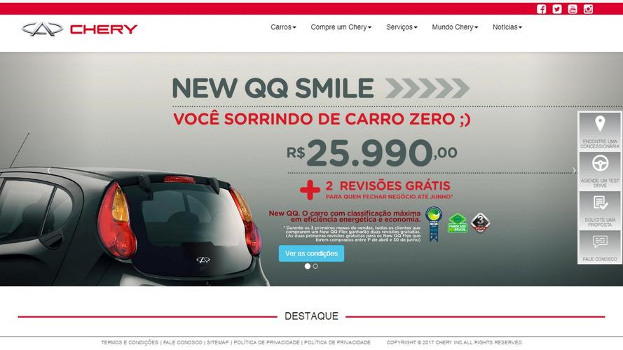 Mais barato do Brasil, Chery QQ Smile 1.0 flex chega por R$ 25.990