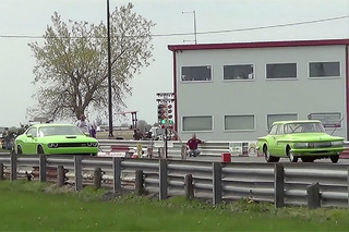 Watch a Hellcat Challenger Drag Race a Mean 1961 Dodge
