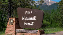 Pike National Forest entry sign