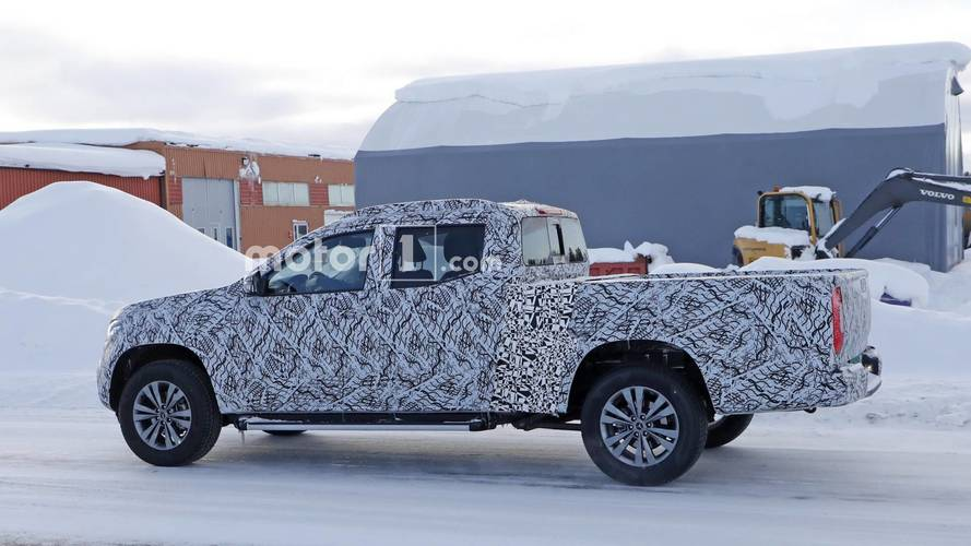 Mercedes X-Class Pickup Spied In The Snow With Larger Cargo Bed