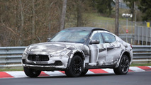 Maserati Levante mule spied testing on the Nurburgring