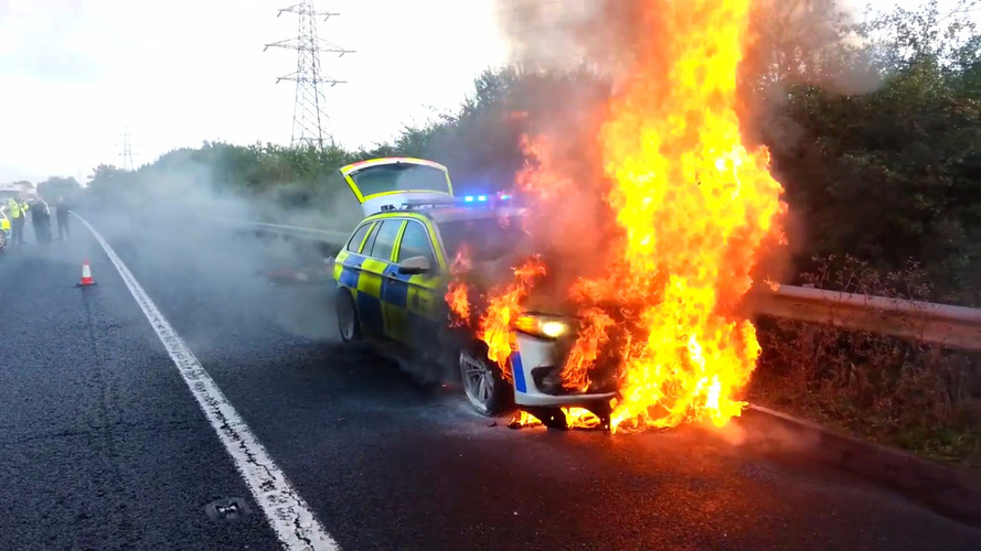 UK police BMW goes up in flames