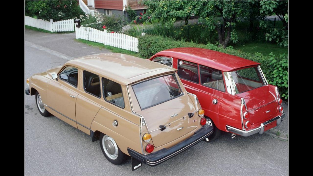 Die mit niedlichen Heckflossen versehene Kombiversion namens 95 kam 1959