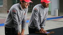 Jenson Button (GBR), McLaren Mercedes and Lewis Hamilton (GBR), McLaren Mercedes, hand printing session - Formula 1 World Championship, Rd 17, Korean Grand Prix, 23.10.2010 Yeongam, Korea
