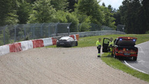 Slightly damaged 2015 Porsche 911 Turbo facelift spied after minor crash on the Nurburgring