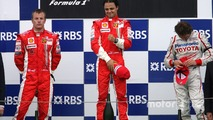 Podium: race winner Felipe Massa with Kimi Raikkonen and Jarno Trulli