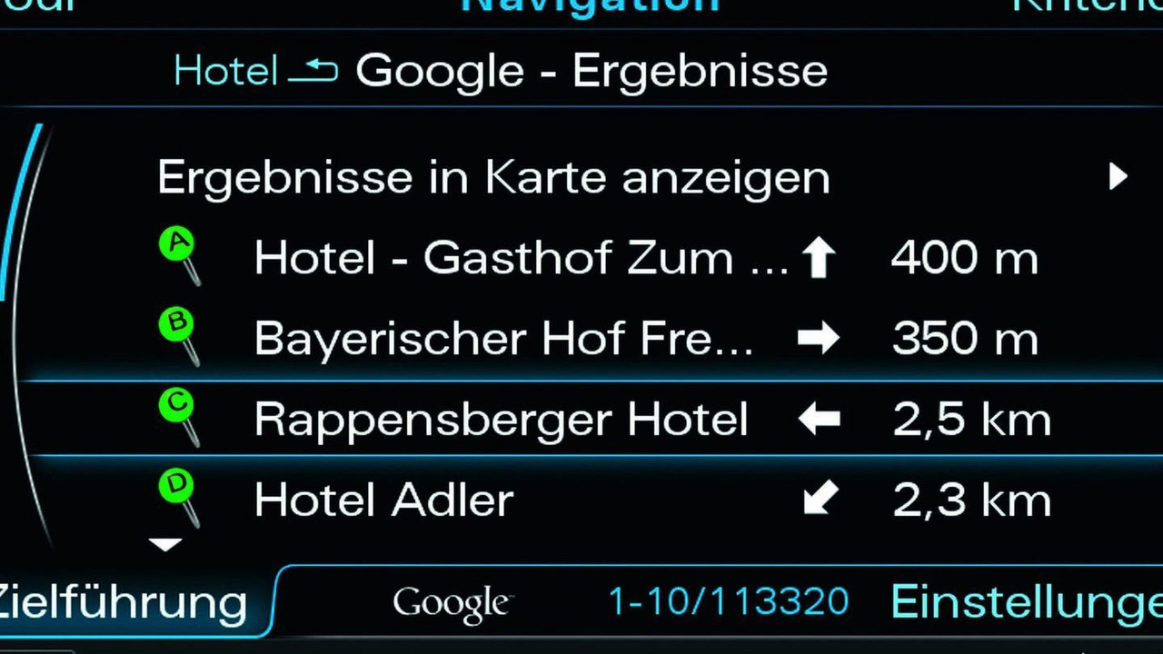 Audi A8 MMI Online search for points of interest with Google Earth