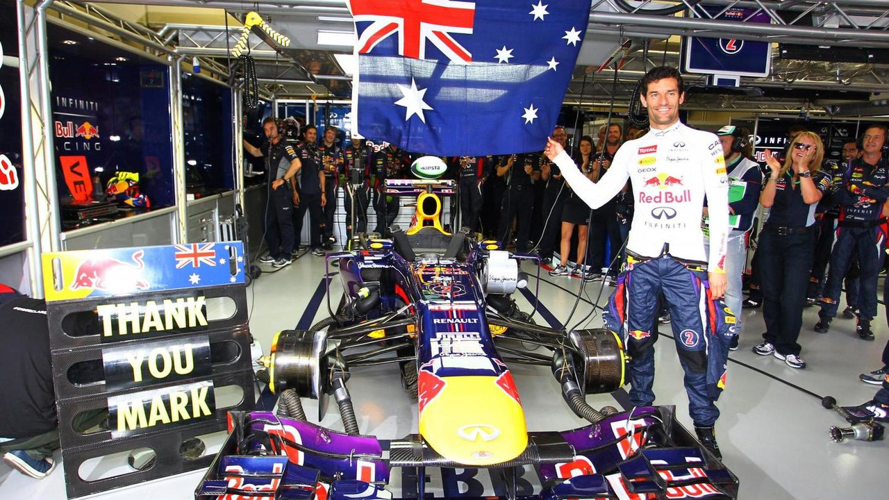 Mark Webber celebrates last GP 24.11.2013 Brazilian Grand Prix