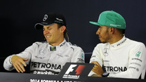 Nico Rosberg and Lewis Hamilton in press Conference 20.04.2014 Chinese Grand Prix
