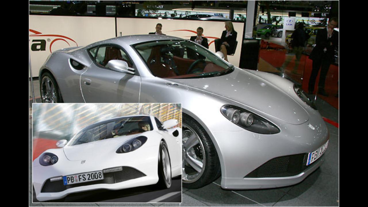 Der Artega GT stand 2007 als Studie in Genf, 2008 war dann das Serienmodell (kleines Bild) zu sehen