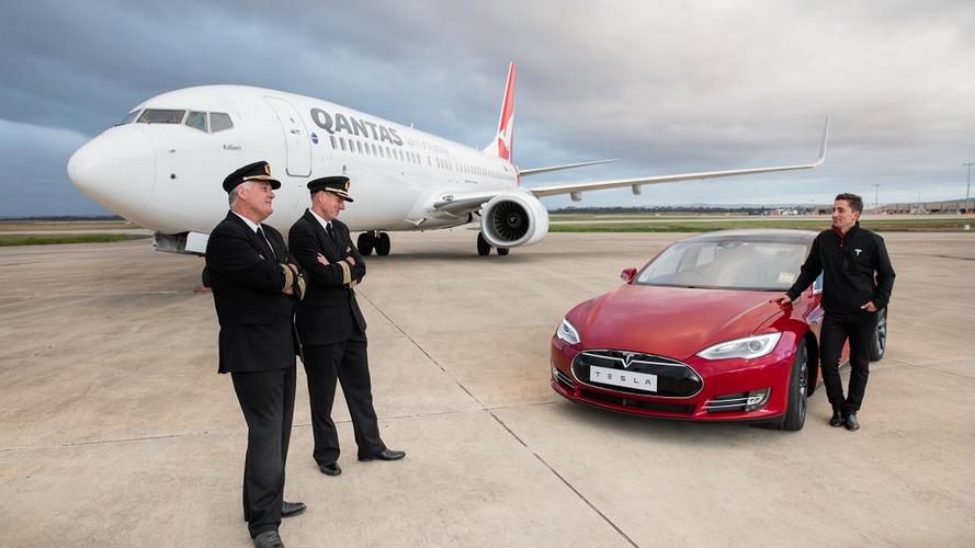 Tesla Model S races Boeing 737