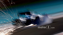 Sparks fly from the car of Valtteri Bottas, Williams FW38