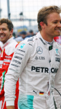 Nico Rosberg, Mercedes AMG F1 and Sebastian Vettel, Ferrari in parc ferme